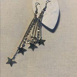 🇺🇸 Shooting star earrings NEW silver tone metal